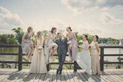 A dapper groom and his beauties