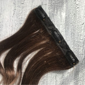 Brown Clip in hair extensions for wedding, close up